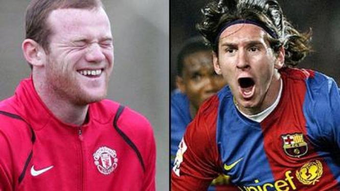 Lionel Messi (kanan) dan Wayne Rooney