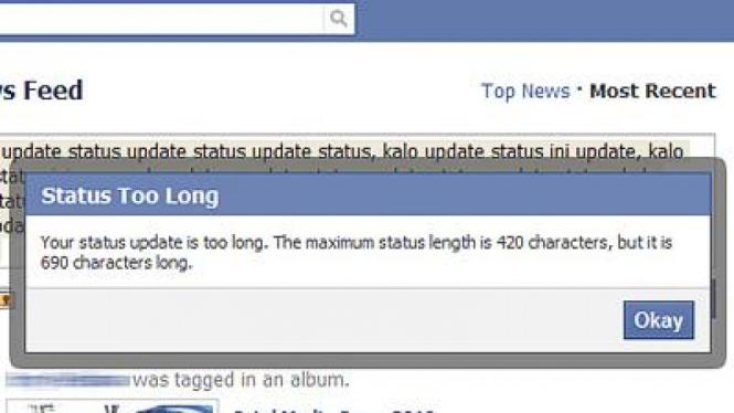 Batasan jumlah karakter di update status Facebook