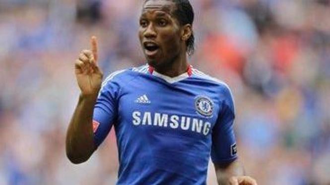 Didier Drogba usai cetak gol