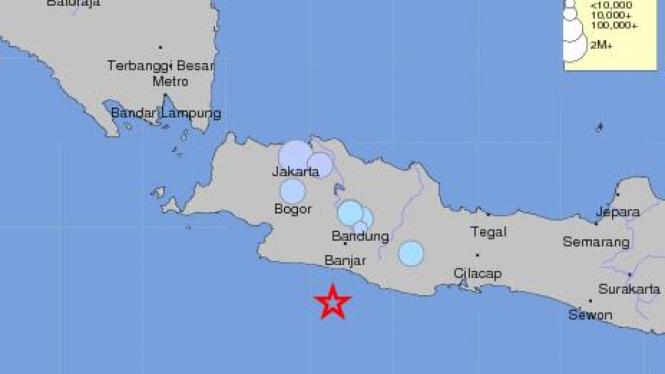 gempa 6 SR dekat Sukabumi