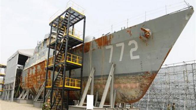 Bangkai kapal patroli Korsel yang ditembak oleh Korut