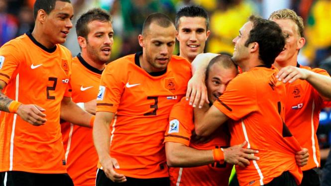Timnas Belanda rayakan gol