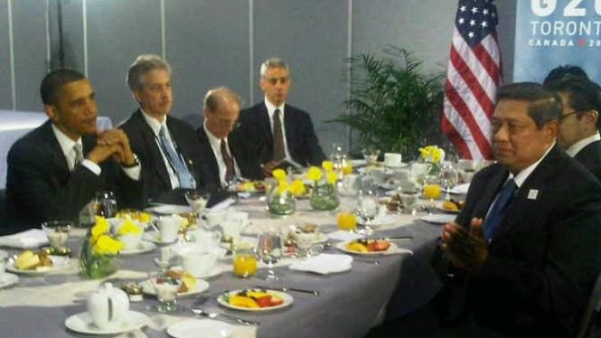 Presiden SBY dan Presiden Barack Obama di KTT-G20 Toronto 2010