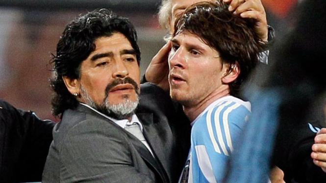 Jerman Permalukan Argentina : Diego Maradona dan Lionel Messi