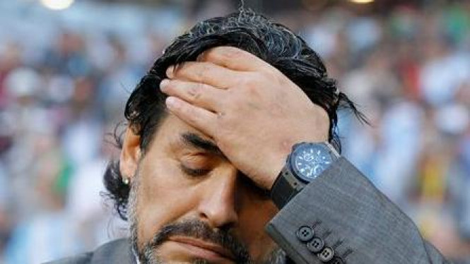 Ekspresi wajah Diego Maradona usai kekalahan Argentina