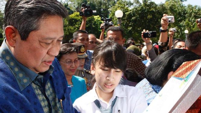 Presiden SBY menghadiri acara puncak perayaan Hari Anak Nasional 2010.
