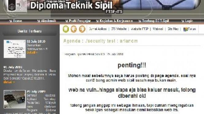 Situs ITS yang dimasuki oleh 'hacker putih'