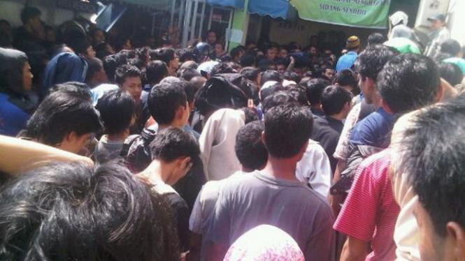 Suasana di luar ruang sidang pengadilan khusus tilang di Pengadilan Negeri Jakarta Selatan.