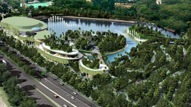 Maket Taman Ria Senayan dilihat dari arah Gatot Subroto