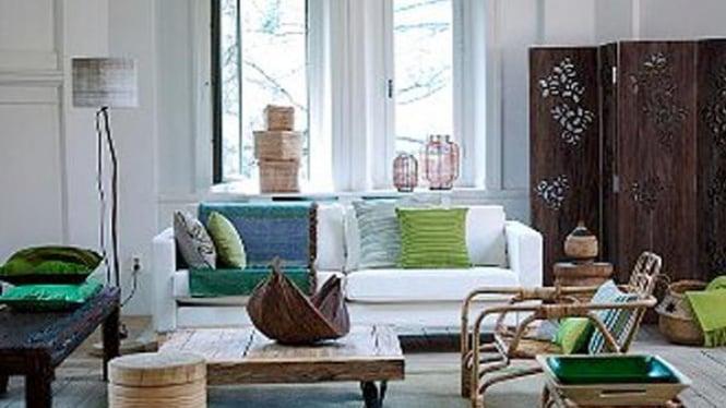 Interior rumah dengan sentuhan hijau