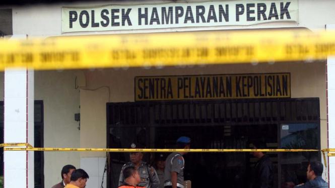 Polsek Hamparan Perak Deli Serdang paska penyerangan