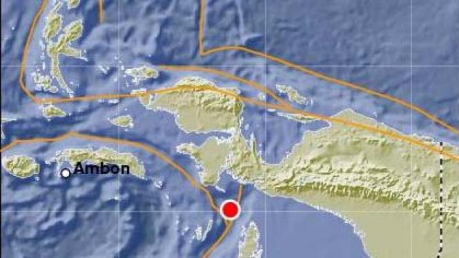 Peta gempa Kaimana, Papua Barat