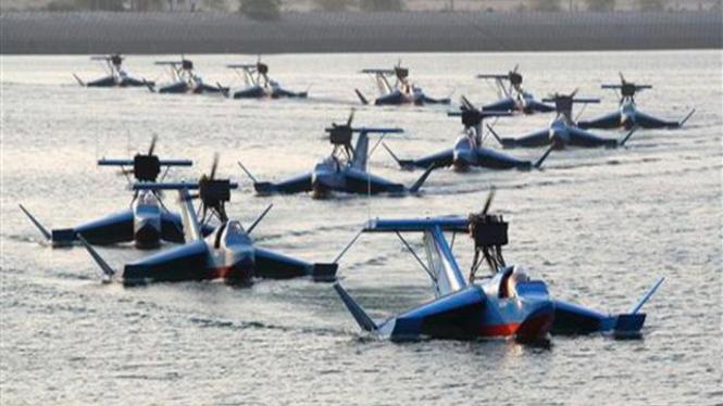 Skadron perahu terbang Bavar-2 buatan Iran