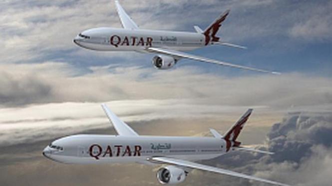 Ilustrasi pesawat milik maskapai Qatar Airways.