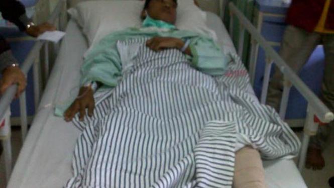 Korban tembak, Karel Restu saat aksi di Jl Diponegoro