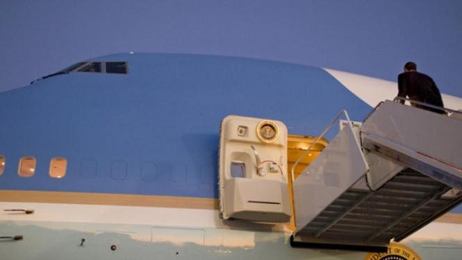 Presiden Obama di dalam Air Force One