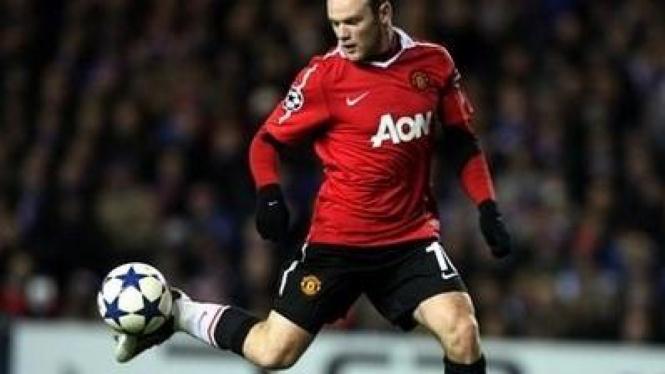 Wayne Rooney di pertandingan versus Glasgow Rangers