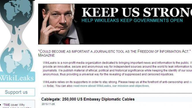 Tampilan depan laman WikiLeaks