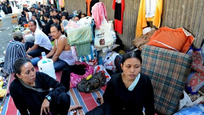Sejumlah tenaga kerja wanita asal Indonesia yang terlantar di Arab Saudi beberapa waktu lalu.