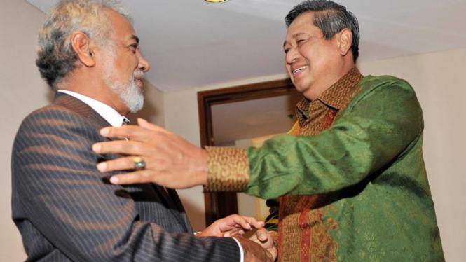 Presiden Susilo Bambang Yudhoyono dan Perdana Menteri Timor Leste, Xanana Gusmao