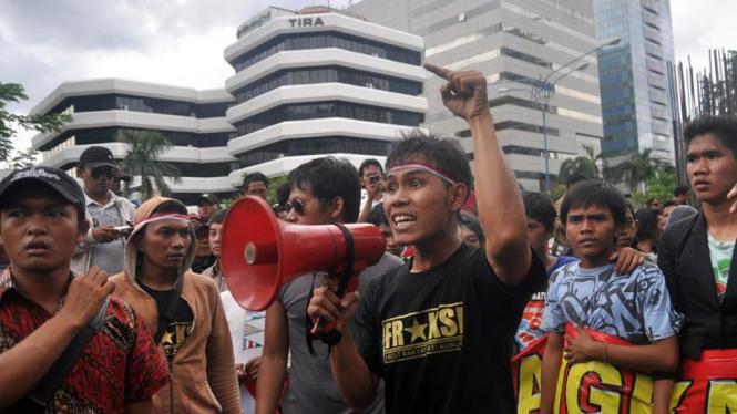 Ilustrasi aksi demonstrasi di KPK.