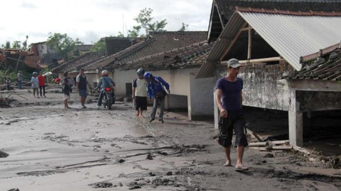Endapan lahar dingin di Dusun Gempol, Magelang