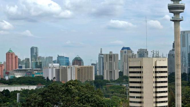 Lanskap gedung-gedung tinggi di kawasan Semanggi