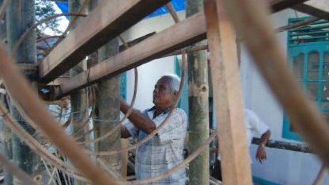 Kerangka Tabuik (tabot) berbahan kayu rotan dan bambu di Pariaman