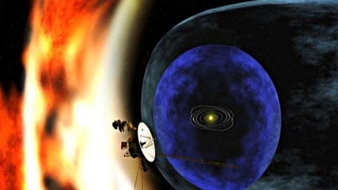 Ilustrasi satelit Voyager 1 berada di pinggir tata surya