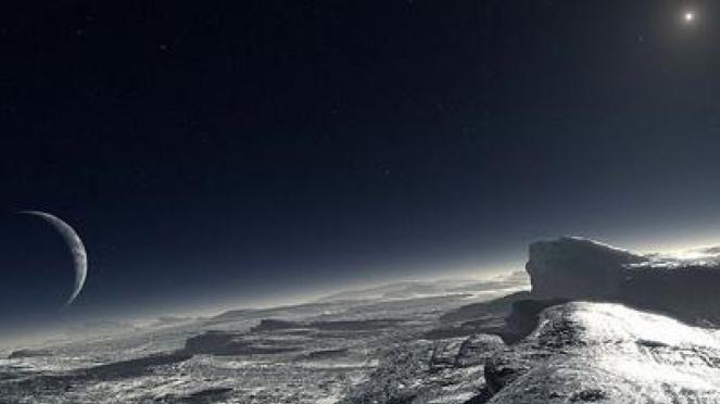 Ilustrasi permukaan planet Pluto yang dibuat dengan komputer