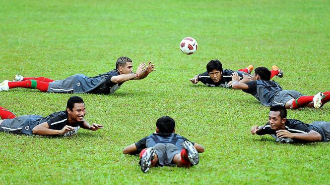 Tim nasional Indonesia saat latihan
