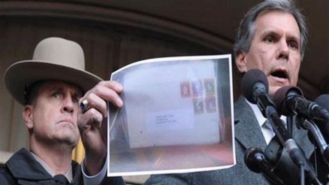 Kepolisian Maryland, AS, perlihatkan foto sebuah paket surat yang mencurigakan