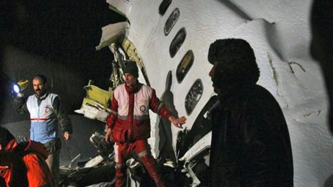 Lokasi jatuhnya pesawat Iran Air di kota Orumiyeh, Iran