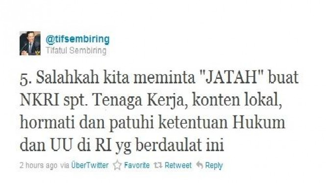 Tweet Menkominfo Tifatul Sembiring tentang RIM