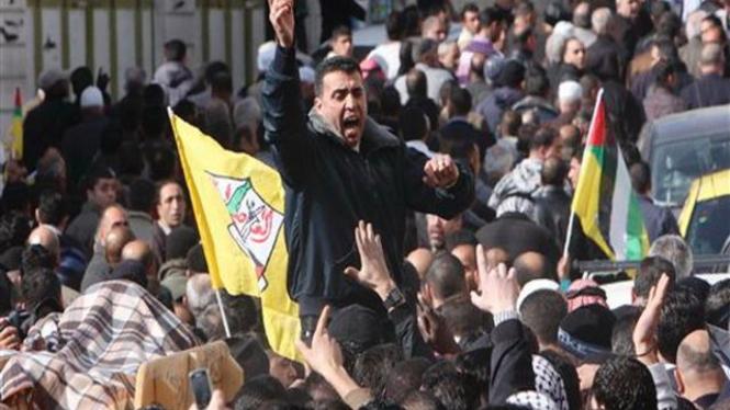 Demonstrasi atas penembakan pasukan Israel di Tepi Barat, Palestina