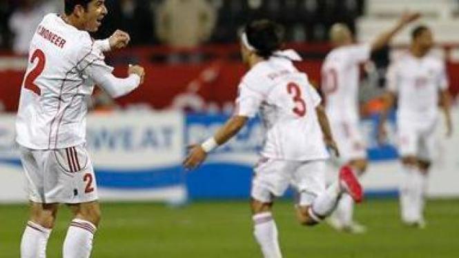 Pemain Yordania rayakan kemenangan atas Arab Saudi