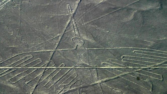 Satu gambar di dataran Nazca Peru yang mirip burung