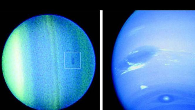 Planet Uranus (kiri) dan Neptunus (kanan).