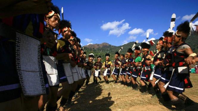 Perayaan tahun baru Suku Naga di Myanmar