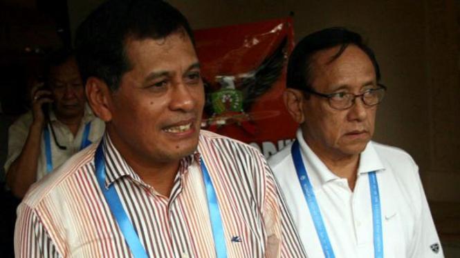 Nurdin Halid (kiri) dan Nugraha Besoes di Kongres PSSI