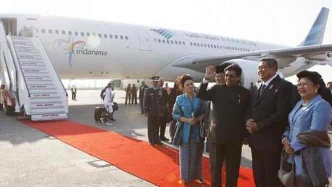 Presiden SBY tiba di Bandara Militer Palam, New Delhi, India