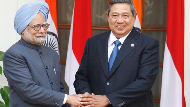 Presiden Susilo Bambang Yudhoyono dan PM India Manmohan Singh