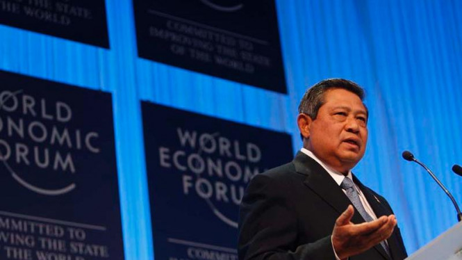 Presiden SBY di podium World Economic Forum