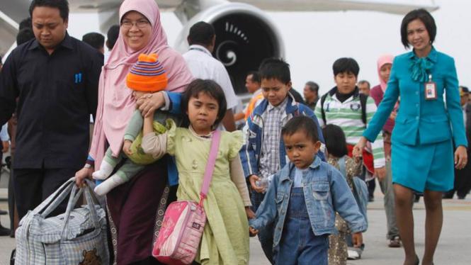 WNI di Mesir tiba di Bandara Soekarno-Hatta.