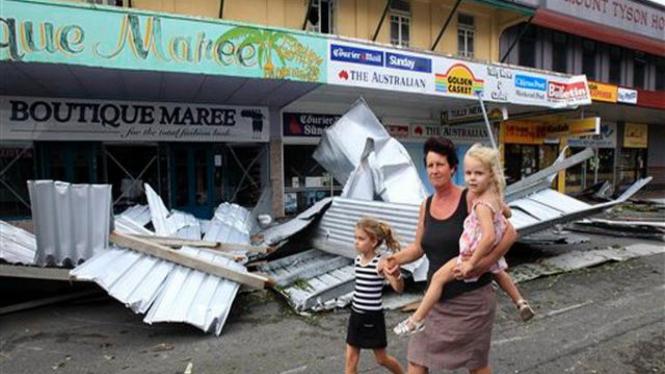 Suasana Kota Tully, Australia, setelah dilanda Topan Yasi