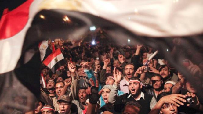 Warga Mesir merayakan mundurnya Presiden Hosni Mubarak