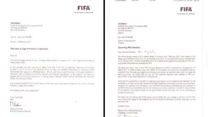 Surat dari FIFA untuk PSSI