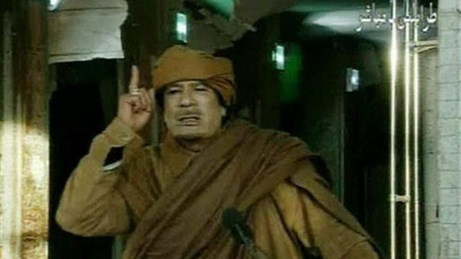 Muammar Khadafi saat berpidato pada 22 Februari 2011