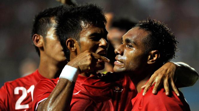 Indonesia vs Turkmenistan: Pemain Indonesia merayakan gol Titus Bonay