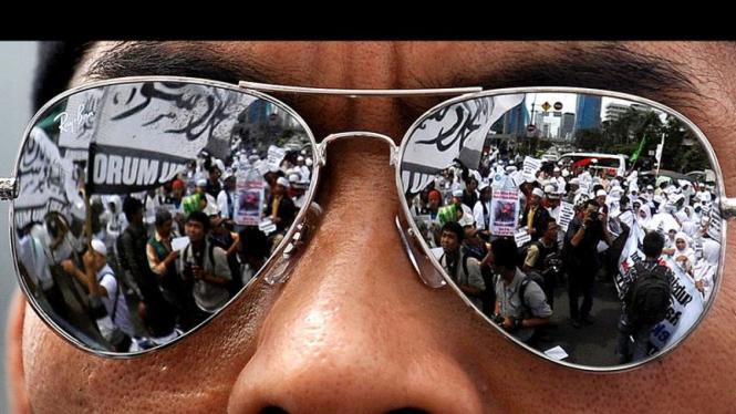 Aksi demonstrasi anti Ahmadiyah.